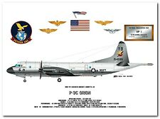 P-3C Orion of the VP-1 Screaming Eagles, US Navy Patrol Aircraft profile  print