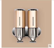 Golden Color Bathroom Soap Dispenser Shower Liquid Shampoo Bottle 500ml *2