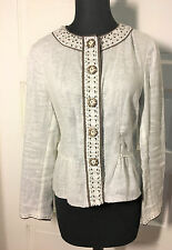Elie Tahari Beige & Brown Lace Beaded 100%Linen Snap-front Jacket/Top sz M