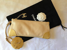 Authentic Excellent CHANEL CC Logo Camelia Leather Clutch Wrislet Bag