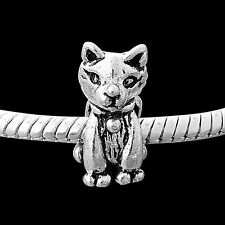 Silver Cat Animal Charms Bead For European Charm Bracelets Halloween