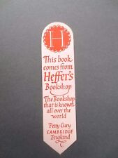 BOOKMARK Vintage Heffers  Bookshop Petty Cury Cambridge OLD Red / Pink