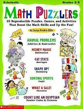 paperback:Math Puzzlers-25 Reproducible Puzzles,Games-Add,Subtr,Money,Percents