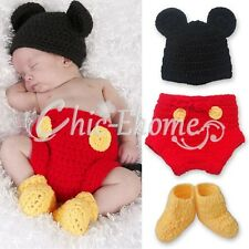 Mickey Mouse Costume Baby Boys 6-12 Months Kids Crochet Knit Outfit Photo Props