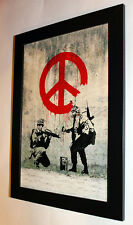 Banksy Soldiers framed 8X12 canvas print poster street art graffiti