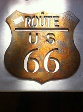 6 inch Rusty Rough Route Rt 66 Mother Road Shield Sign Metal Wall Art Stencil