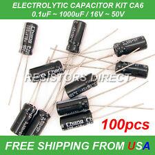 100pcs 10 Value Electrolytic Capacitor Kit Assortment 0.1~1000uF 16~50V CA6