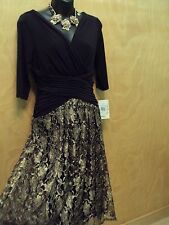 NEW Anthropologie Black Gold Lace Dress by Sangria sz 6