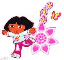 "4.5"" DORA & BOOTS NICK JR CHARACTER HEARTS FLOWERS SET  FABRIC APPLIQUE IRON ON"