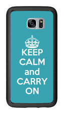 Turquoise Keep Calm and Carry On For Samsung Galaxy S7 G930 Case Cover by Atomic