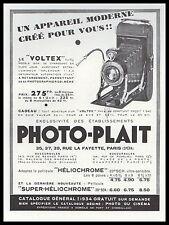 """PUBLICITE LE """" VOLTEX """" APPAREIL PHOTO PHOTO-PLAIT   AD  1934 - 2H"""