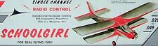 "Vintage SCHOOLGIRL Willard's 1/2A 34"" 3-Channel RCM Model Airplane PLAN &Article"