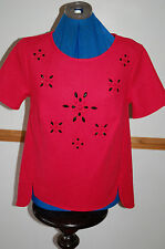 NEW Sz 12 or 14 Cerise Pink Red Short Sleeve Top large Floral Black&pink beads
