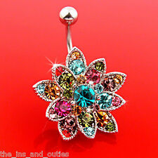 Multicolor Gem Flower Belly Ring Made With Swarovski Crystal Navel Naval  (w14)