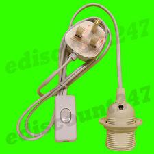 3 Pin Plug In Kit CE CERTIFIED ES E27 Light Bulb Lamp Holder (WHITE) UK SELLER.