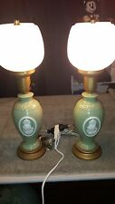 A PAIR OF ANTIQUE TABLE LAMPS WITH SATIN GLASS GLOBES UNKNOWN MAKER WEDGEWOOD?