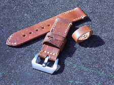 Hand made 24mm Genuine Swiss Ammo leather watch strap. Screw in buckle