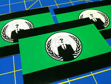 Anonymous Flag - green Lot Of 3 vinyl sticker decals silk screened
