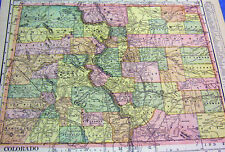 ANTIQUE MAP OF COLORADO W/ RAILROADS, CONTINENTAL DIVIDE, ABERDEEN MOUNDS, CLIFF