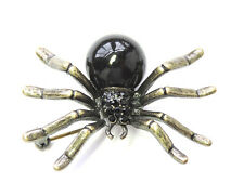 Black Rhinestone Crystal Faux Pearl Spider Pin Brooch For Halloween C184