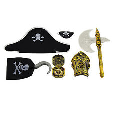 Caribbean Pirate Costume Accessory Set Halloween Kids Party Favor Skull Patch