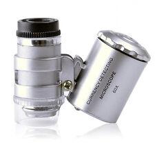60x Handheld Mini Pocket Microscope Loupe Jeweler Magnifier LED Light Amazing