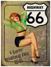 """ROUTE 66 & PINUP GIRL - STEEL SIGN  8 x 6"""" - INTERNAL/ EXTERNAL USE - FIXING KIT"""
