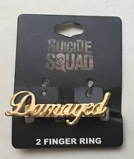 "DC Comics Suicide Squad Gold Tone 2 Finger Ring ""Damaged"" HTF Rare New With Tags"