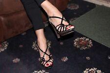Zapatos De Tacón Alto Evie Sexy Ocasión Formal De Tacón Alto Con Tiras Tacón Marrón Zapato Negro 5