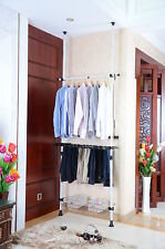 TELESCOPIC WHITE WALK IN WARDROBE CLOTHES SHOE HANGER STORAGE RAIL