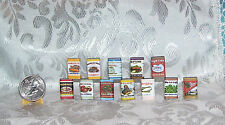 MINIATURE DOLLHOUSE FASHION DOLL CANNED CANS FOOD LOT OF 12 RETRO STYLE LABELS