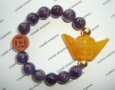 Feng Shui - Yellow Jade Ingot & I-Ching Coin with 12mm Amethyst