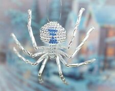 Winter Blue Silver Widow Christmas Beaded Spider Ornament