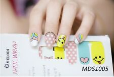 16 Pcs Nail Wrap Nail Patch Self-adhesive Decals Stickers Kawaii Smile MDS1005
