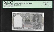 INDIA Paper Money - Very Scarce 5 Rupees (1943) P23b - PCGS Choice New 63