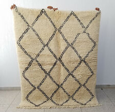100% Authentic Beni Ourain Moroccan Rug Ivory Wool Handmade 6'9 x 5'4