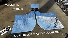 Yamaha Rhino Diamond Plate FLOOR & CUP Holder Set 2004 to 2013 FREE SHIPPING