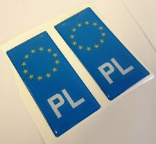 2x Poland Polska PL Gel 3D Number Plate Side Badge Badges for ALU METAL PLATES