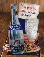 White Rock Soda Pop Psyche Winged Fairy Glass Club Soda Water Bottle Adv Sign