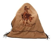 Western Bull Riding Reversible Fringed Throw Blanket -Bedding Rodeo Ranch Cowboy