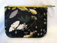 GORGEOUS FOSSIL COATED CANVAS & LEATHER CLUTCH BAG, COSMETIC BAG, PURSE NWOT