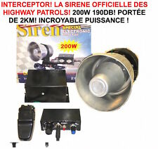 LA CELEBRE SIRENE INTERCEPTOR DES CHIPS ! 200W 190DB HARLEY BUELL GOLDWING BMW