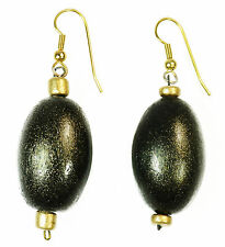 TRIBAL INSPIRED LADIES STAND OUT OVAL DROP EARRINGS BRONZE  (ZX1)