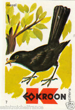Merle noir Turdus merula - Common Blackbird MATCHBOX LABEL CARD IMAGE 1973