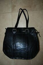 Black Leather Croc Embossed FRANCESCO BIASIA Dbl Strap Zip Handbag Purse
