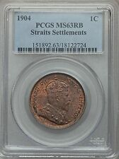 1904 Straits Settlements 1 Cent PCGS MS 63 RB Red Brown