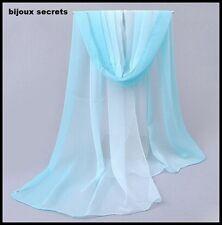 foulard écharpe 100% mousseline de soie dégradé bleu ciel à turquoise