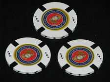 USMC Lot of 3 White Poker Chips Golf Ball Marker Card Guard Marine Corps Navy