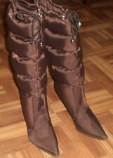 Women`s Snow Rain Boots High Heel Brown size 6  Knee High New!