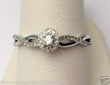 10k White Gold Halo Cathedral Vintage Oval Diamond Engagement Ring Bypass Shank